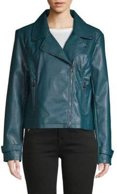 Laundry by Shelli Segal Notched Faux Leather Moto Jacket