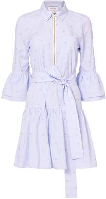 Derek Lam 10 Crosby Belted Ruffle Striped Shirtdress