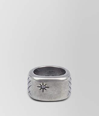 Bottega Veneta RING IN SILVER AND NATURALE CUBIC ZIRCONIA WITH INTRECCIATO DETAILS