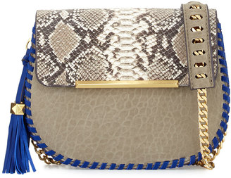 B Brian Atwood Grace Leather Snake-Embossed Saddle Bag, Taupe $195 thestylecure.com