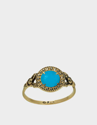 Feidt Paris Small Empire Ring in 9K Gold, Grey Sapphire and Turquoise