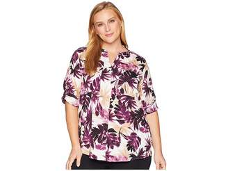 Calvin Klein Plus Plus Size Printed Crew Neck Blouse with Roll Sleeve