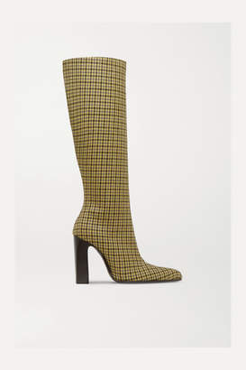 Balenciaga Houndstooth Wool-tweed Knee Boots - Yellow