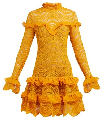 Jonathan Simkhai Ruffled Floral Lace Mini Dress - Womens - Yellow