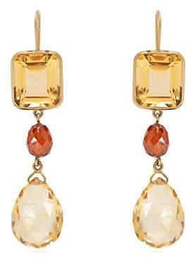 Brigid Blanco - 18kt Gold, Citrine & Hessonite Drop Earrings - Womens - Orange