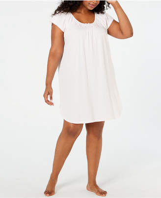 Miss Elaine Plus Size Embroidered Smocking-Trim Nightgown