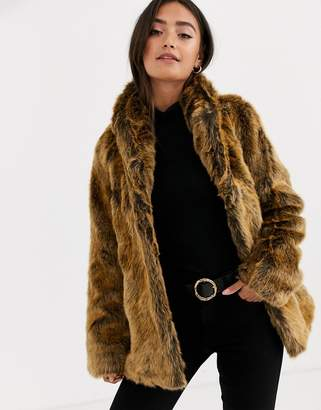 Asos Design DESIGN stand collar faux fur coat in brown