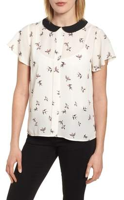 CeCe Printed Peter Pan Collar Blouse