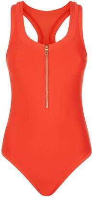 Heidi Klein Racerback Zip-Up Swimsuit