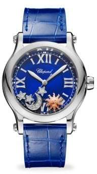 Chopard Happy Sport Automatic Stainless Steel Sapphire& Diamond Leather Strap Watch