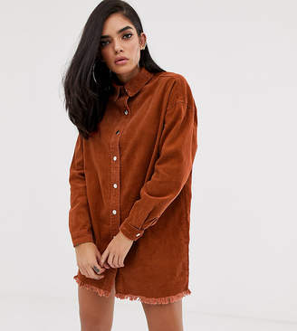 Missguided exclusive oversized cord shirt dress in rust