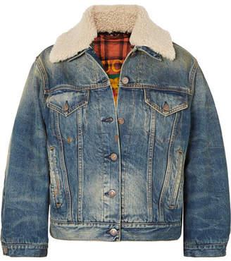 Gucci Appliquéd Shearling-trimmed Denim Jacket - Mid denim