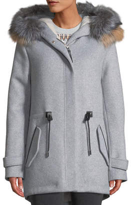 Mackage Alexa Wool-Blend Trench Coat w/ Tricolor Fur