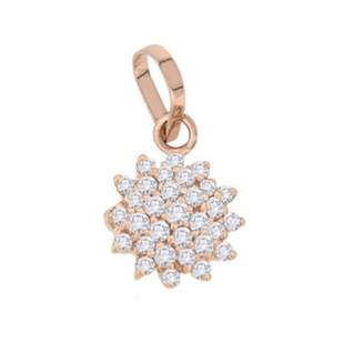 "Smjewels 0.51 Cts Sim Diamond Cluster Pendant with 18"" Chain In 14K Gold Fn Silver"