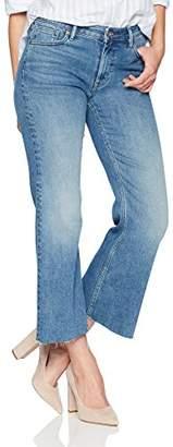 Denim Bloom Women's Mid Rise Raw Hem Crop Bootcut Jean 26