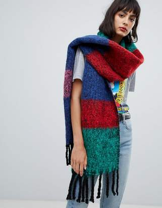 Asos DESIGN oversized bright fluffy scarf in stripe