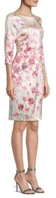 St. John Brush-Stroke Floral Stretch Silk Sheath Dress