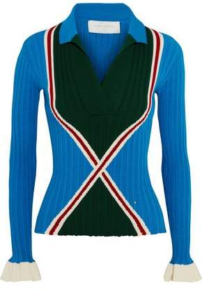 Esteban Cortazar Ribbed-Knit Polo Shirt