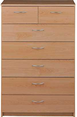 Collection Cheval 5+2 Drawer Chest - Beech Effect