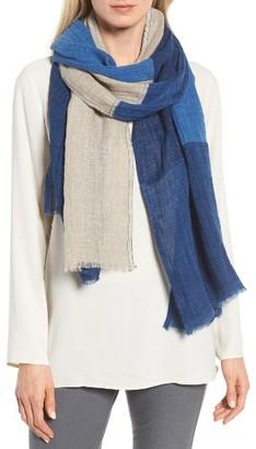 Women's Eileen Fisher Denim Colorblock Linen Scarf $118 thestylecure.com