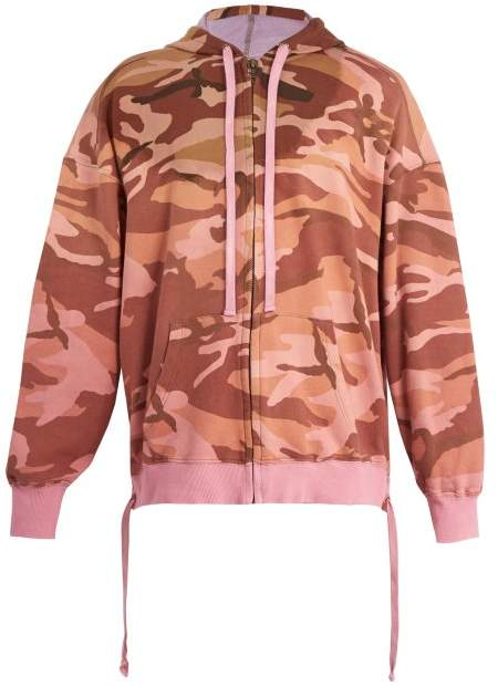 Camouflage-print hooded cotton sweatshirt