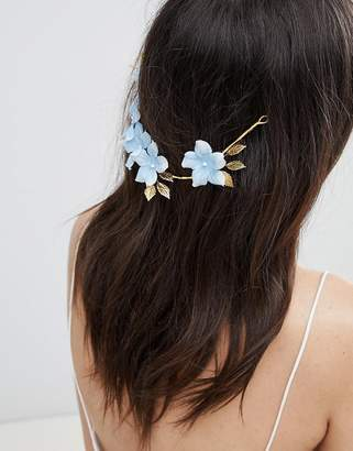 Asos Design DESIGN Bridal Something Blue Floral Back Hair Crown