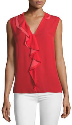 Elie Tahari Adreena Asymmetric Silk Ruffle Blouse