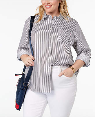 Tommy Hilfiger Plus Size Cotton Striped Button-Down Shirt, Created for Macy's