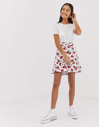 Monki Floral Polka Dot Frill Skirt Two-Piece