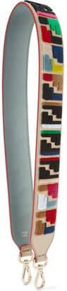 Fendi Velvet-appliquéd Leather Bag Strap