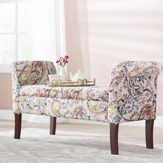Charlton Home Keziah Floral Upholstered Storage Bench Charlton Home