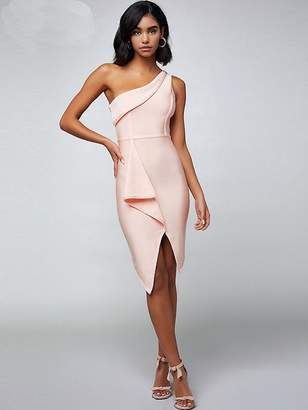Shein Adyce One Shoulder Ruffle Asymmetrical Hem Dress