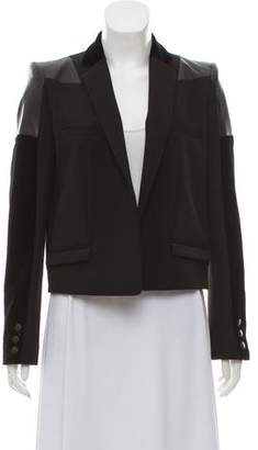 Just Cavalli Leather-Accented Notch-Lapel Blazer