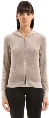 Juicy Couture Crystal Logo Zip-Up Velour Sweatshirt