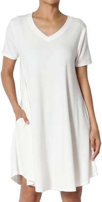 TheMogan Women's V-Neck Short Sleeve Draped Jersey Pocket Tunic Dress 1XL