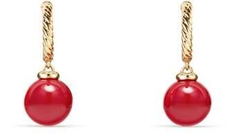 David Yurman Solari Hoop Earrings with Red Enamel in 18K Gold