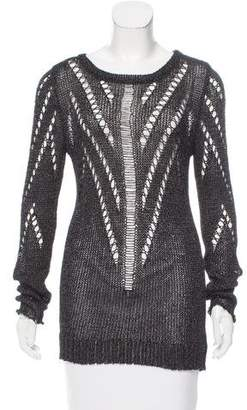 Tess Giberson Metallic-Accented Open Knit Sweater