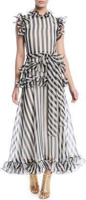 Valentino Sleeveless Striped Silk Organza Long Dress w/ Ruffled Frills