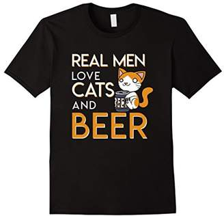 Mens Real Men Love Cats And Beer Funny Cats Beer Men Love Shirt