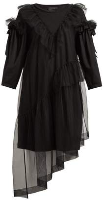 Simone Rocha Ruffled Tulle Overlay Cotton T Shirt Dress - Womens - Black