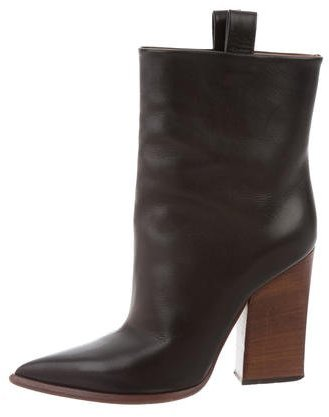 Céline Leather Pointed-Toe Boots