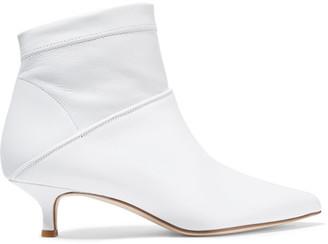 Tibi Jean Leather Sock Boots - White