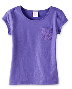 Little Miss Attitude Girls' 2T-6X Short Sleeve Lace Pocket Tee