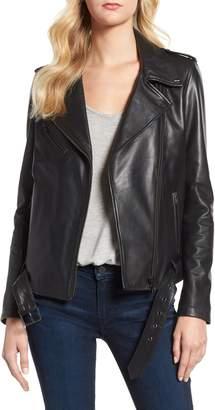 LAMARQUE Belted Leather Biker Jacket