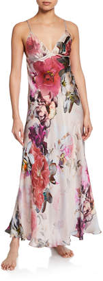 Christine Lingerie Camille Floral-Print Spaghetti-Strap Silk Gown