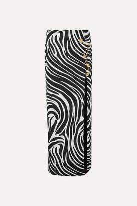 Versace Embellished Zebra-print Satin Maxi Skirt - Black