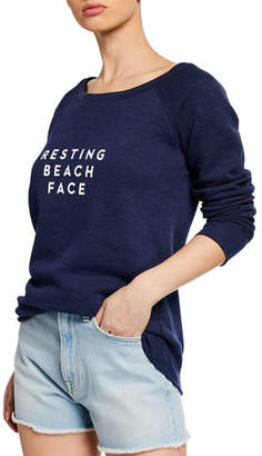 Milly Resting Beach Face Scoop-Neck Sweatshirt