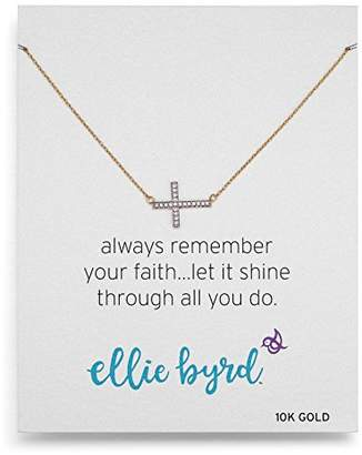 ellie byrd 10k Gold Diamond Sideways Cross Necklace (1/10cttw