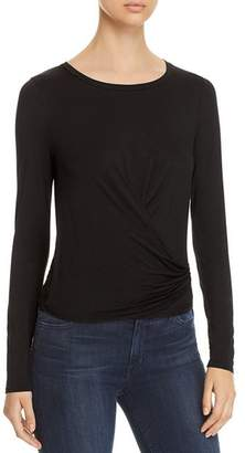 Three Dots Faux-Wrap Jersey Tee