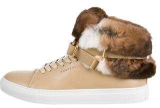 Buscemi Fur-Trimmed High-Top Sneakers